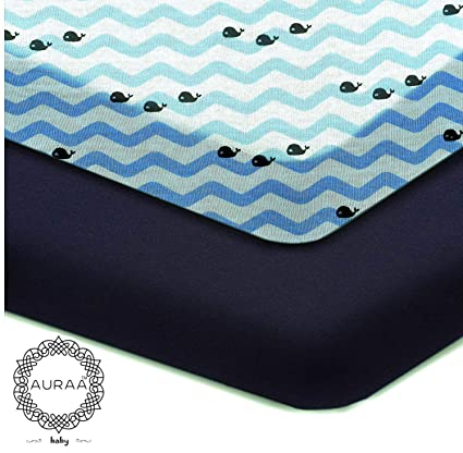 Amazon.com: AURAA Baby Fitted Crib Sheets Set, 2 Pack Portable Crib Mattress Topper for Baby Boys Girls,Ultra Soft, Full Standard (Dark Navy/Whale Chevron): ...