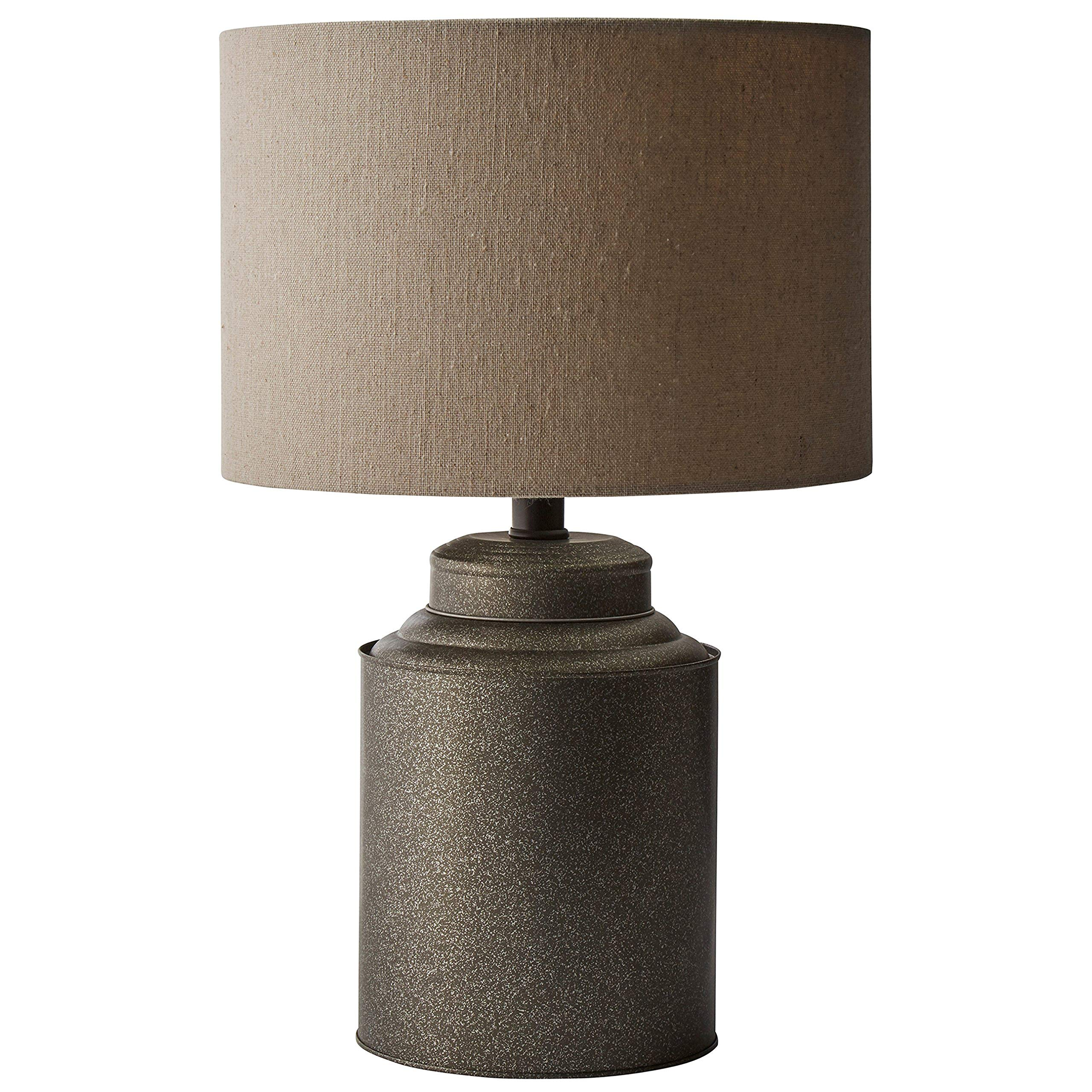 Stone & Beam Rustic Farmhouse Jug Living Room Table Lamp With LED Light Bulb and Drum Shade - 12.5 x 20 Inches, Black