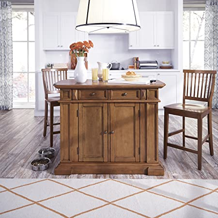Americana Oak Kitchen Island with Stools by Home Styles
