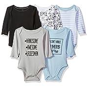 Hudson Baby Long Sleeve Bodysuits, Mustache 5Pk, 0-3 Months (3M)
