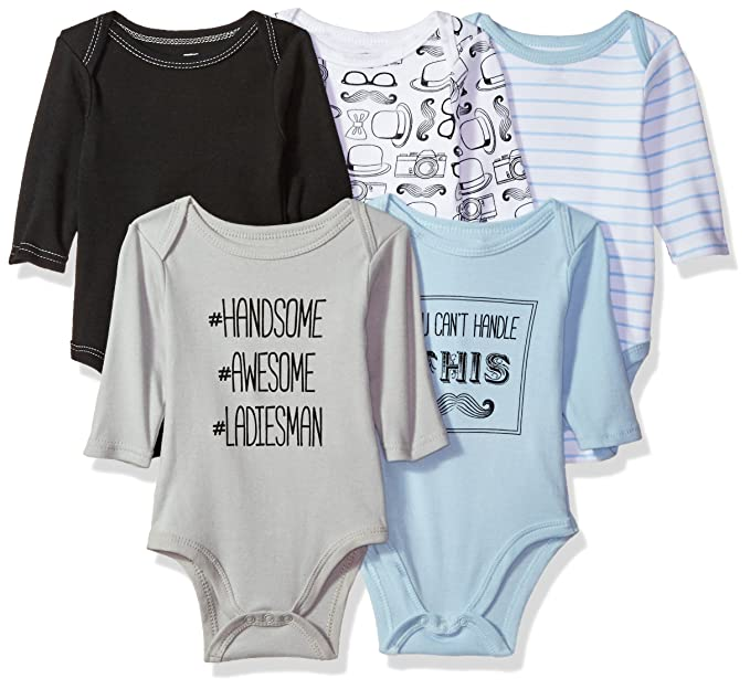 024a8ab69 Image Unavailable. Image not available for. Color: Hudson Baby Long Sleeve  Cotton Bodysuit, 5 Pack ...