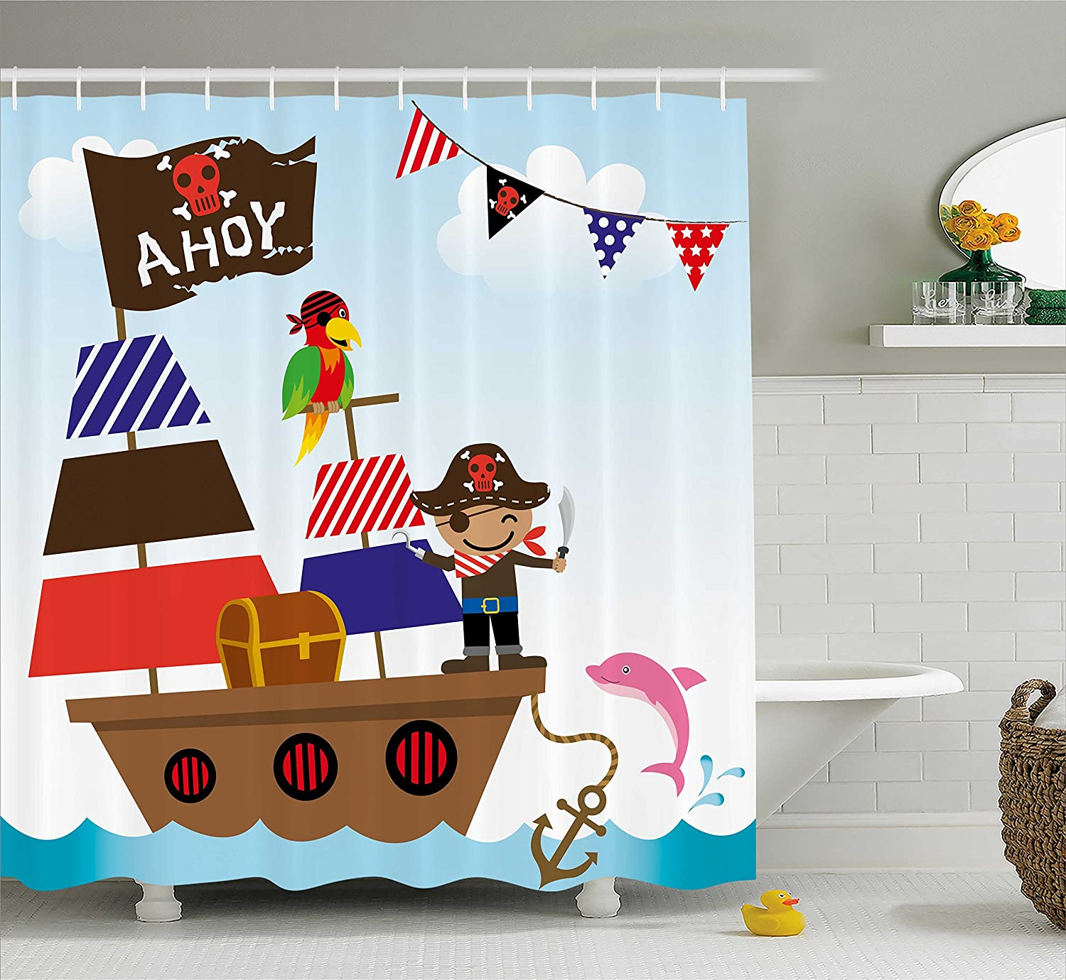 Kids Shower Curtain Ambesonne Ahoy Its a Boy Shower Curtain, Cute Pirate Kids Treasure Chest with Ship on Ocean Background Illustration, Fabric Bathroom Decor Set Shower Curtain for Boys Bathroom
