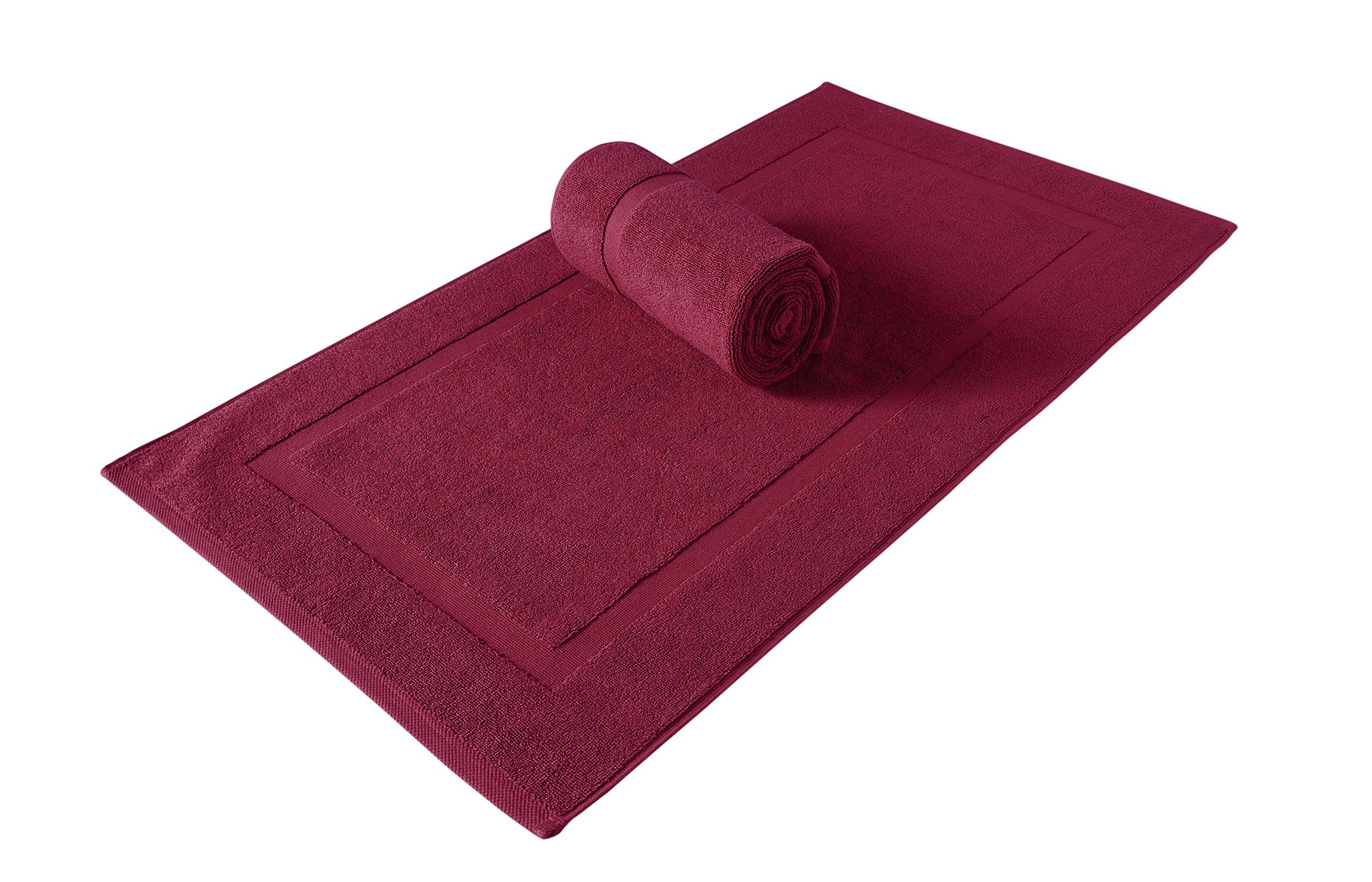 SALBAKOS Luxury Hotel Spa 100% Turkish Cotton Banded Panel Bath Mat Set 900gsm! 20''x34'' (Wine, 2 Pack)