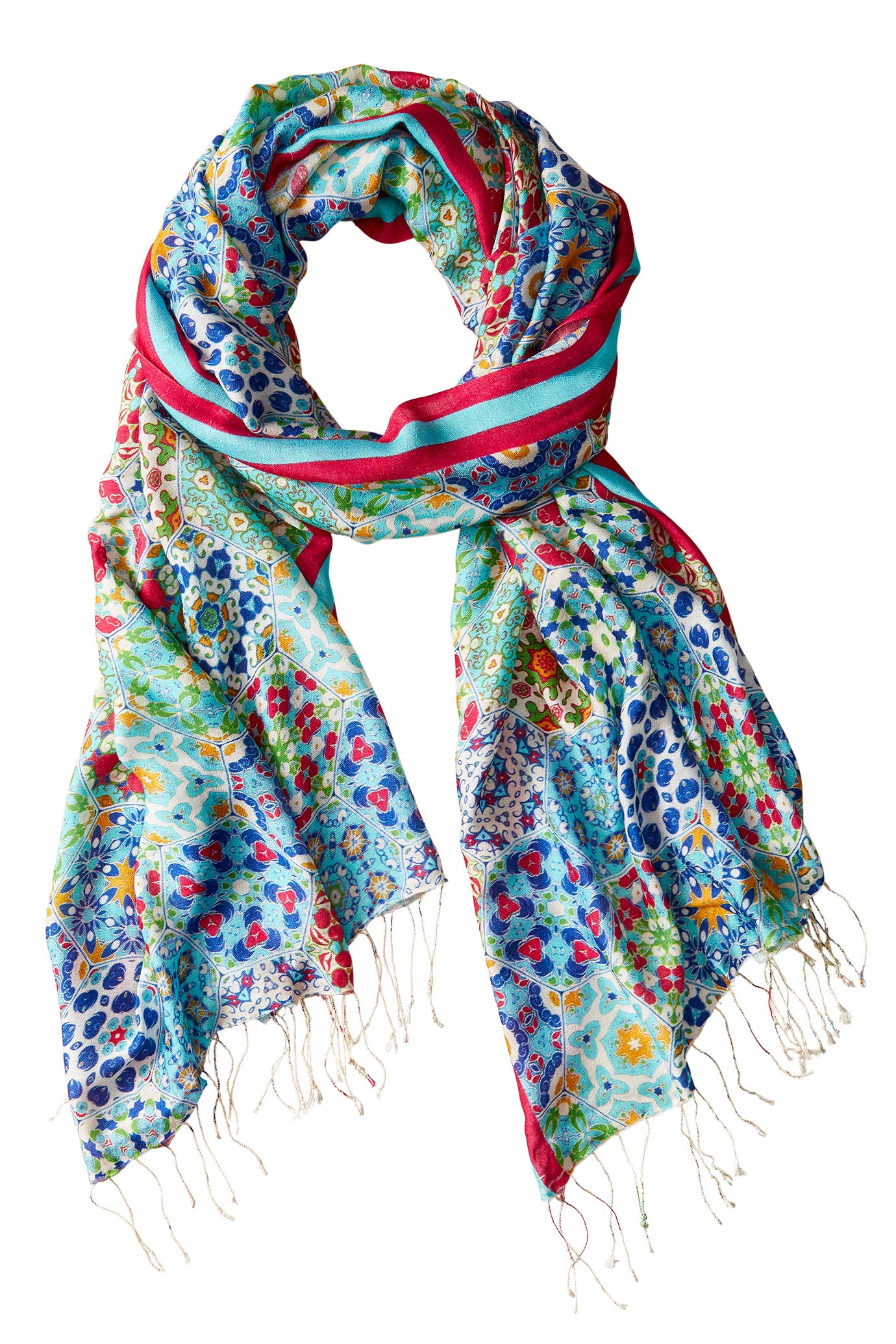 Travelsmith Geometric Silk Scarf by Tolani