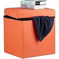 Relaxdays Faltbarer Sitzhocker, 38 x 38 x 38 cm Stabiler Sitzcube mit Fußablage, Sitzwürfel aus Kunstleder, Aufbewahrungsbox mit Stauraum und Deckel