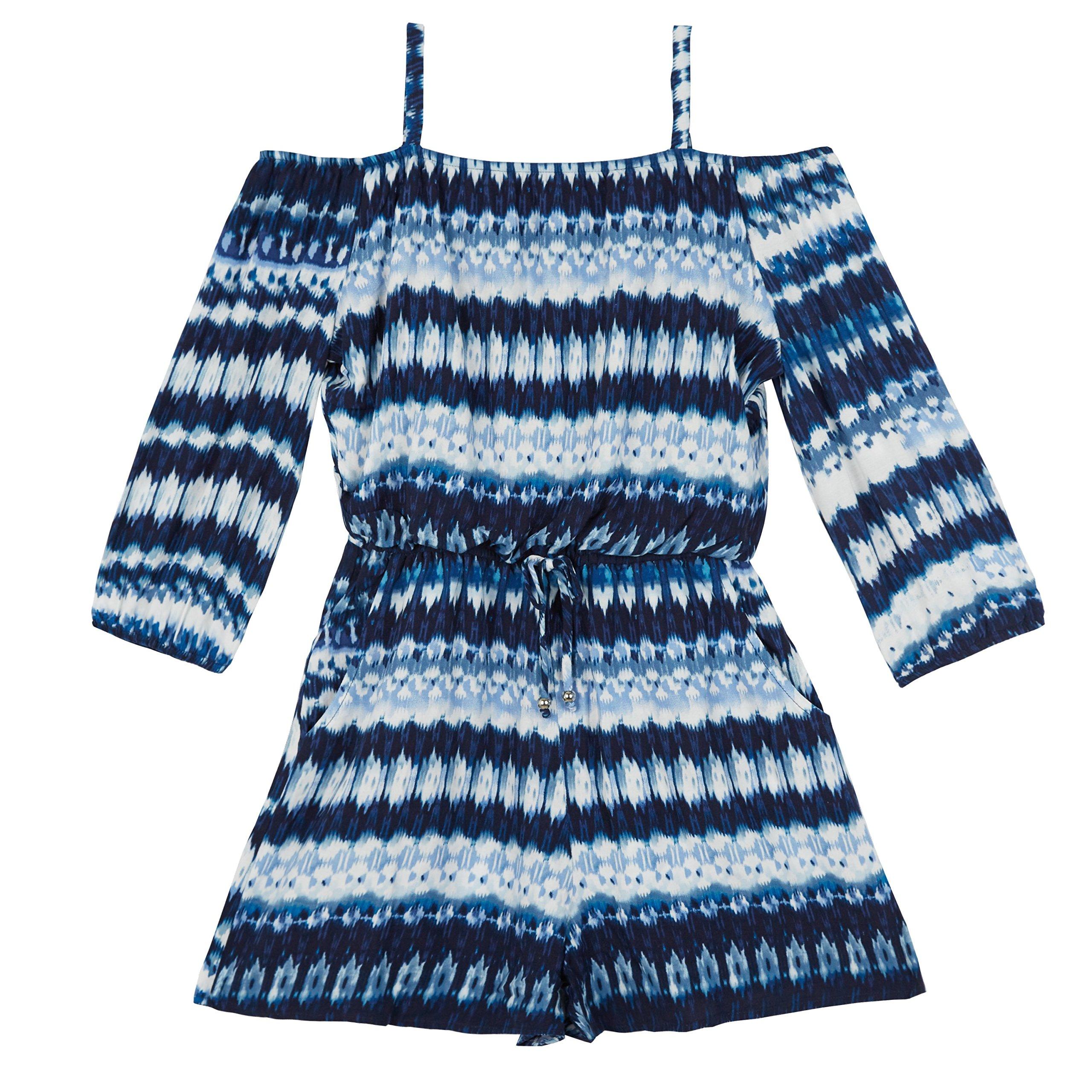 Amy Byer Big Girls' Long Sleeve Off Shoulder Print Romper, Navy Tie Dye, L