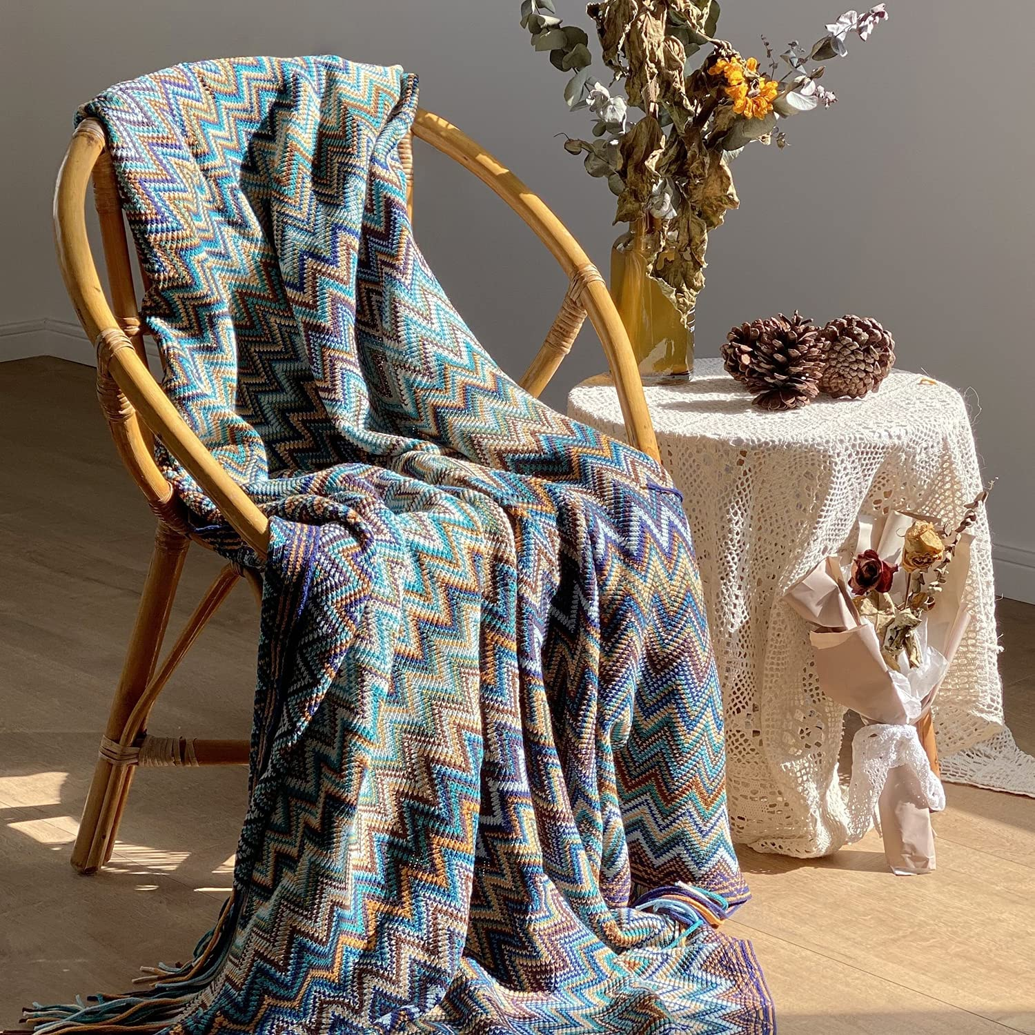 OFADD Knitted Throw Blankets Acrylic Boho Blanket with Tasselsfor Travel Couch Sofa Bed Decor, All Seasons SuitableBohemian Throw Blanket, Soft and Solid 280GSM 50