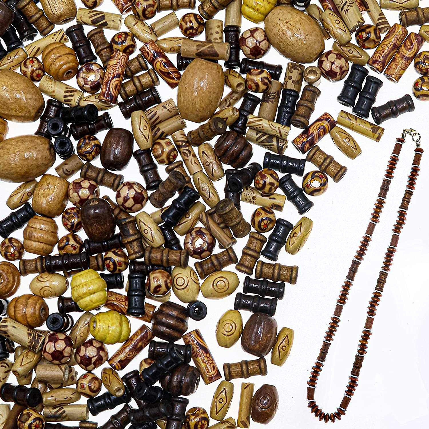 Over 700 Pieces Wood Beads for Jewelry Making with Free Sample Necklace - 24 Assorted Natural Wooden Bead Styles - Great for African, Native American Designs, Macrame Bracelets, Necklaces, Braids