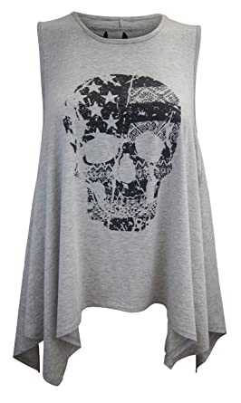 1ff1063154e34 Ladies Plus Size Grey Cotton Casual Hanky Skull Printed Vest Top T shirt  Tunic  Grey