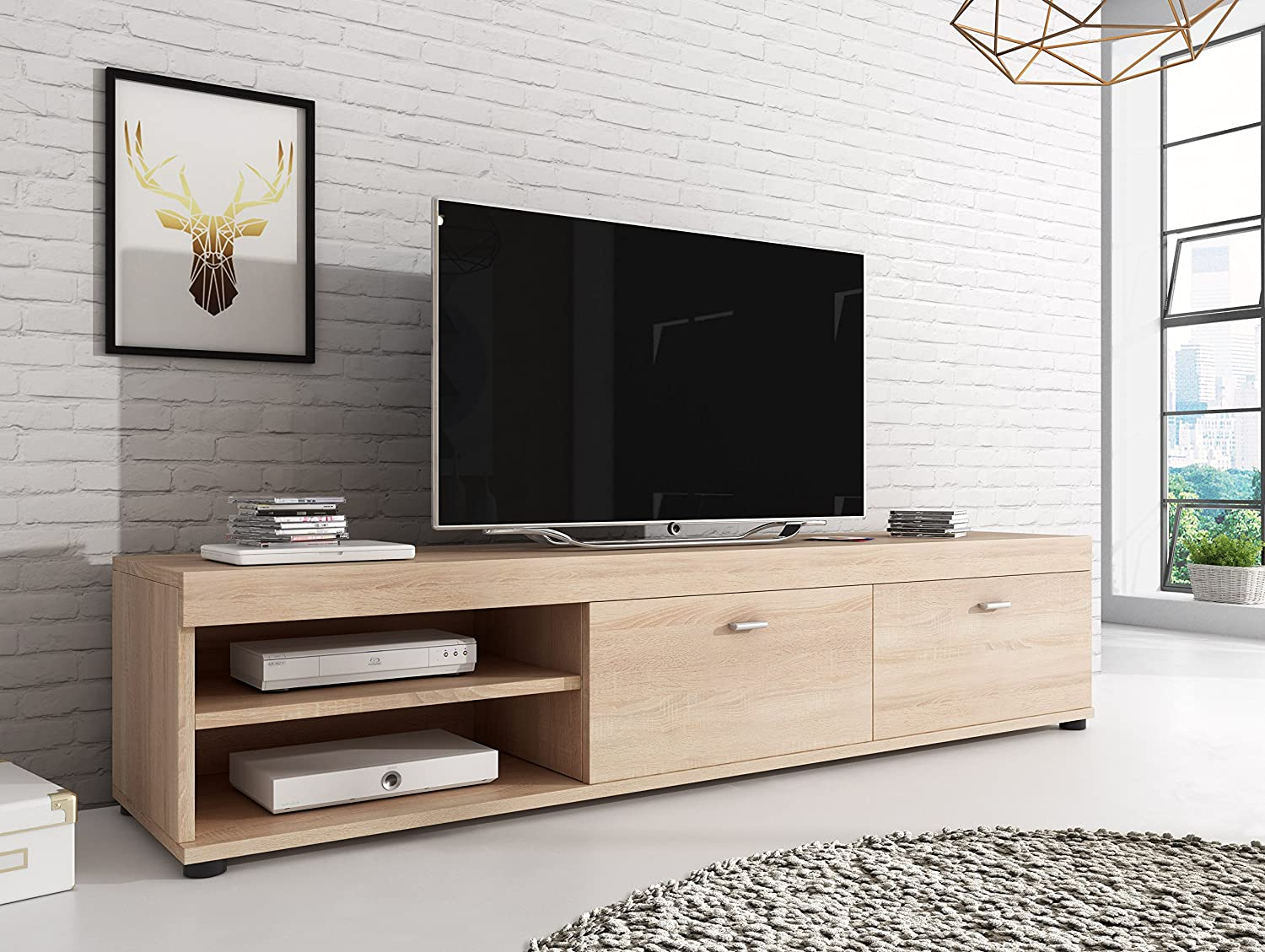 Tv Unit Cabinet Stand Elsa Sonoma Light Oak Wood Effect 140 Cm  # Meuble Tv Sonoma