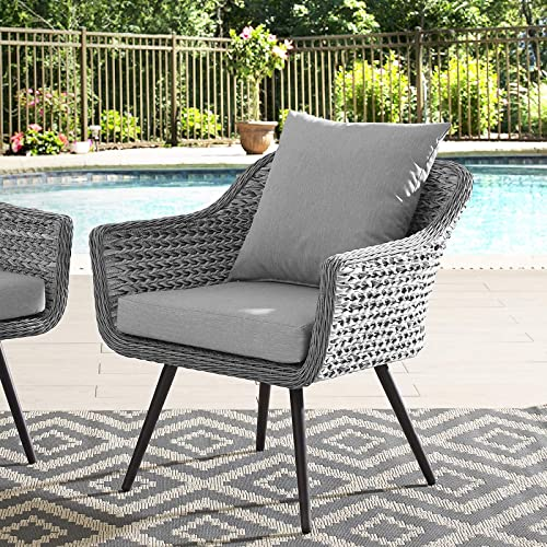 Modway Endeavor Wicker Rattan Aluminum Outdoor Patio Accent Lounge Arm Chair