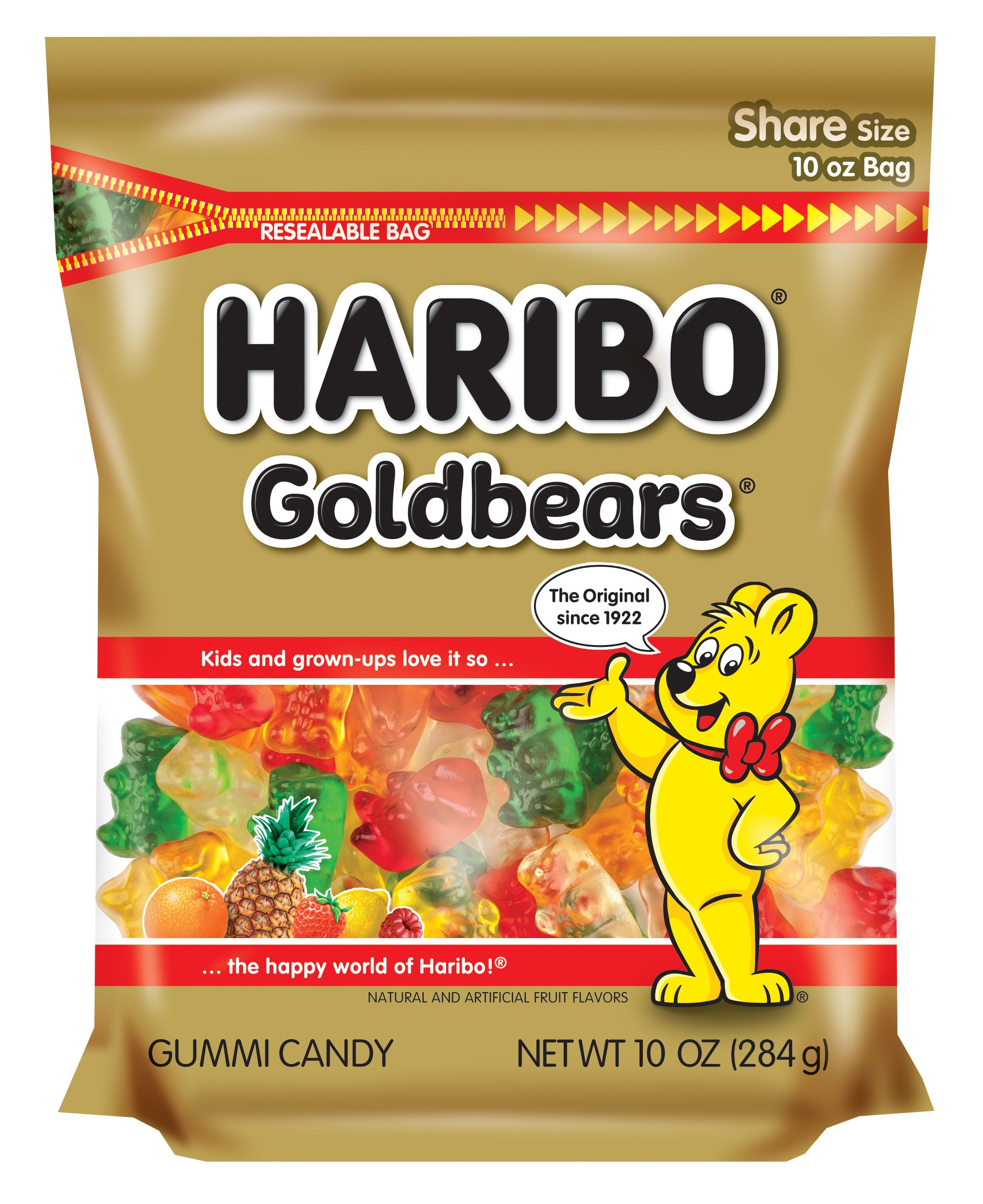 Haribo Goldbears Gummi Candy, Resealable Zipper Bag, 10 Ounce (Pack of 8) by Haribo