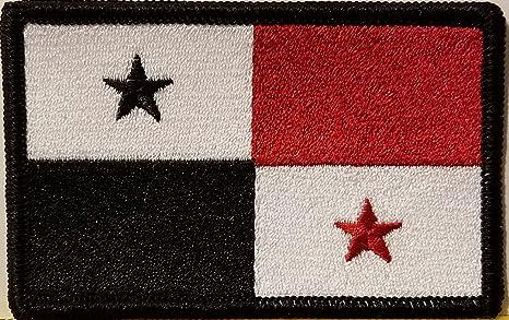 Bandera de Panamá bordado parche con Velcro (R) marca cierre moral militar emblema negro frontera (versión en blanco y negro, rojo # 8): Amazon.es: Juguetes y juegos