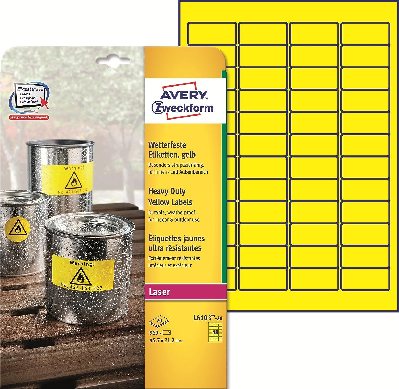 Avery L4776-20 Etichette in Poliestere 20 Fogli 12 Pezzi per Foglio Bianco 99.1 x 42.3