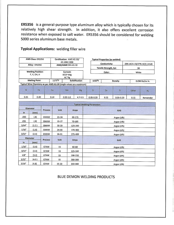 Blue Demon ER5356 X .047 X 16LB Spool high strength aluminum welding wire ER5356-047-16