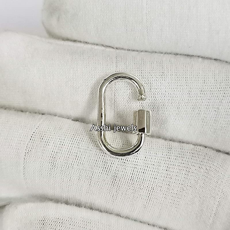 Details about  /Solid 925 Silver Monogram Initial M Lock Carabiner Lock Finding Necklace Jewelry