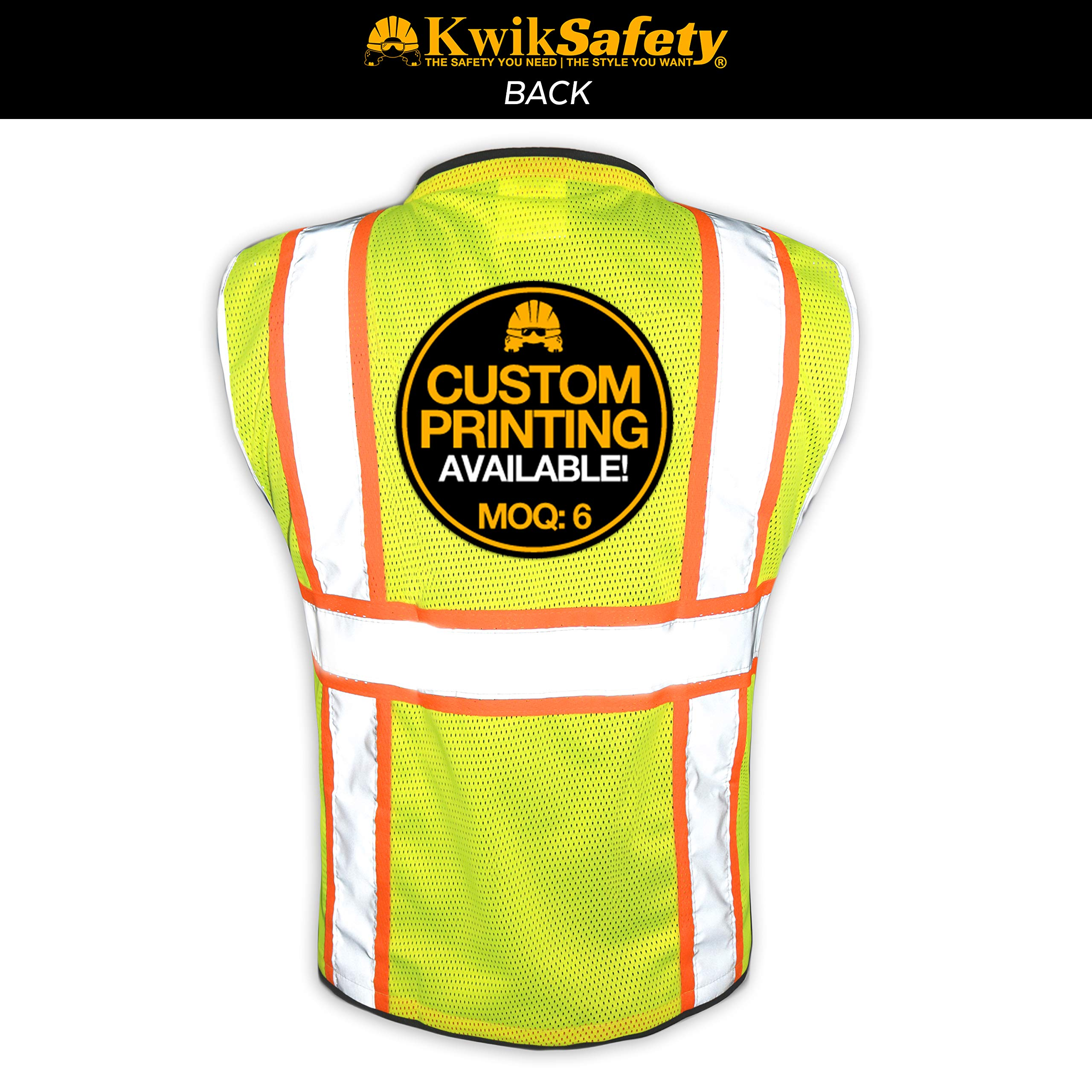 KwikSafety (Charlotte, NC) BIG KAHUNA (11 Pockets) Class 2 ANSI High Visibility Reflective Safety Vest Heavy Duty Mesh with Zipper and HiVis for OSHA Construction Work HiViz Men Yellow Black Small by KwikSafety (Image #2)