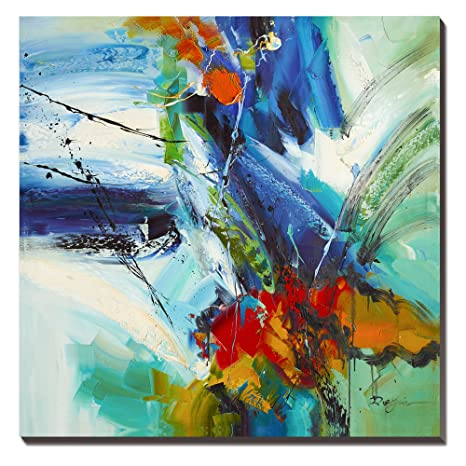 Wesiator Blue Green Abstract Canvas Wall Art Large Modern Pictures And Prints For Bedroom Living Room Bathroom Home Decoration Ready To Hang