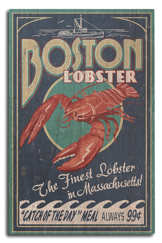 【★大感謝セール】 ボストン、マサチューセッツ州 10 – Wood ロブスター ビンテージサイン 11 x 14 14 Matted Art Print LANT-40682-11x14M B07365XMLV 10 x 15 Wood Sign 10 x 15 Wood Sign, わんにゃんStyle:c24f92a7 --- mcrisartesanato.com.br