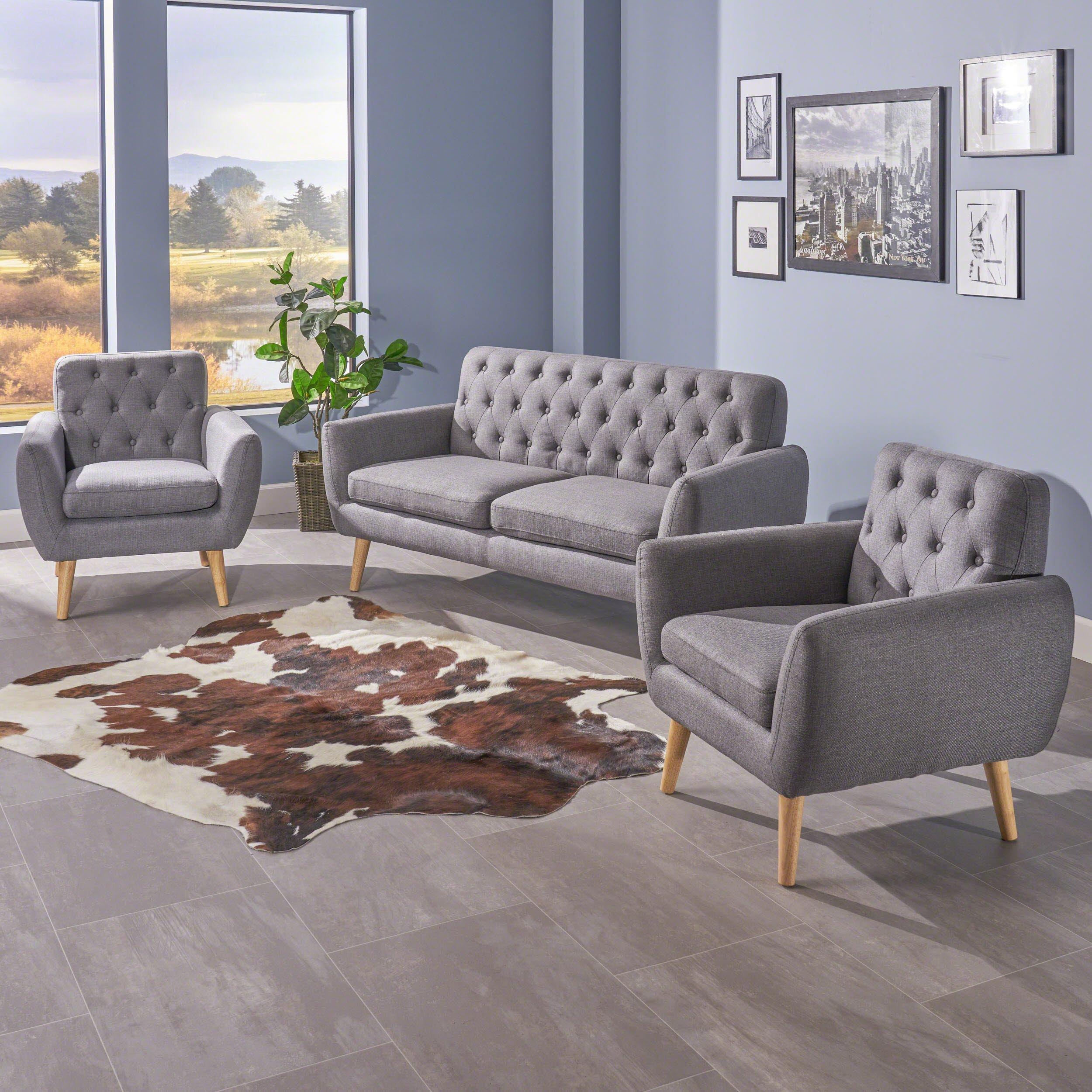Christopher Knight Home Eunice Petite Mid Century Modern Tufted Dark Grey Fabric 3 Piece Sofa and Club Chairs Set by Christopher Knight Home