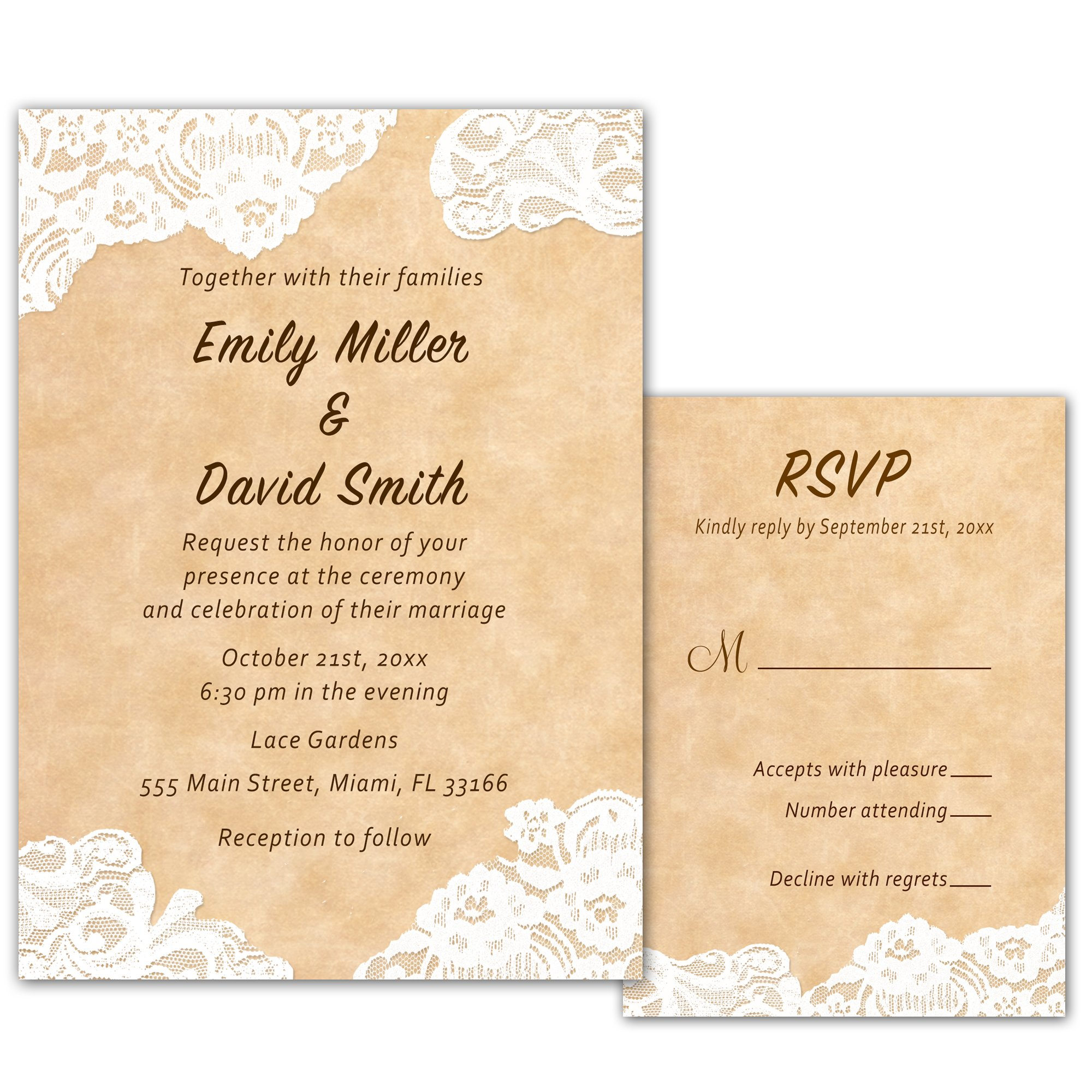 100 Wedding Invitations Rustic Country Style Lace Design + Envelopes + Response Cards Set