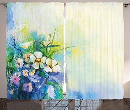 Ambesonne Watercolor Flower Home Decor Curtains Floral Petals Display Murky Nature Artisan Sketchy Image