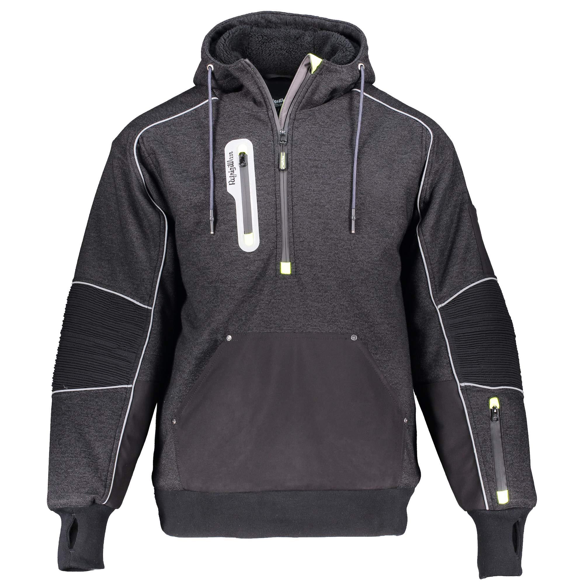RefrigiWear Men's Extreme Hybrid Insulated Pullover Sweatshirt Hoodie with Performance-Flex (Black, 3XL)