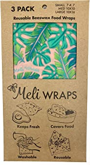 Meli Wraps Beeswax Wraps - Reusable Food Wrap Alternative to Plastic Wrap. Certified Organic Cotton, Naturally Antibacterial