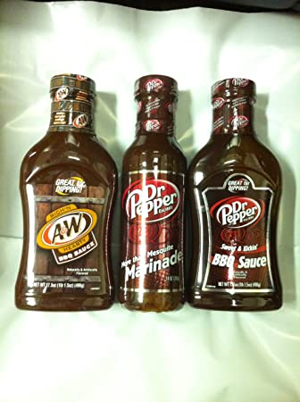 Soda Pop Sauces Triple Sampler Gift Pack- A&W Root Beer BBQ Sauce, Dr Pepper