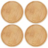 Bamboo Plant Saucer, Suitable for 3-4 inch Plant Pots, 4 Packs Plant Pot Saucers Durable Bamboo Plant Tray for Indoors, 12cm