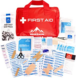 Rescue Guard Deluxe First Aid Kit; Over 200 Pieces Emergency Supplies; Great for Camping, Survival, 1st Aid, School, Camp, Emergencies, Home and Automobiles.