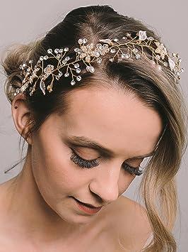 Sweetv Bohémien Headbands Mariage Bandeaux Cheveux Perle Bandeau à Bijoux Tiare Cristal Accessoire Coiffure Mariage Pour Femmes Or