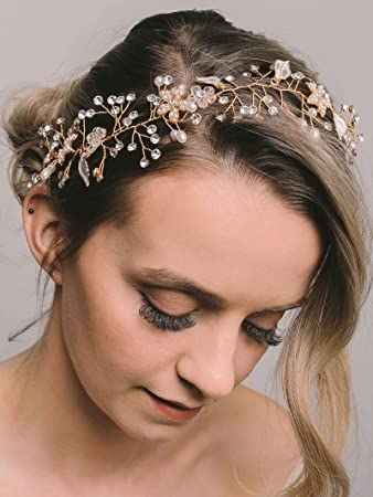 Sweetv Gold Bridal Headband Hair Band Accessories Bohemian Headpiece