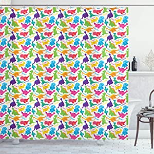 "Ambesonne Jurassic Shower Curtain, Dinosaur Archaeological Historical Monster Wild Creature Cartoon Children Print, Cloth Fabric Bathroom Decor Set with Hooks, 70"" Long, Turquoise Magenta"