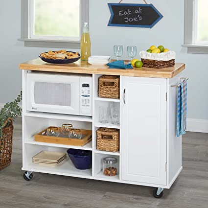 Kitchen Islands On Wheels Microwave Cart Portable Mobile Storage Unit  Breakfast Bar With Cabinet Shelves And