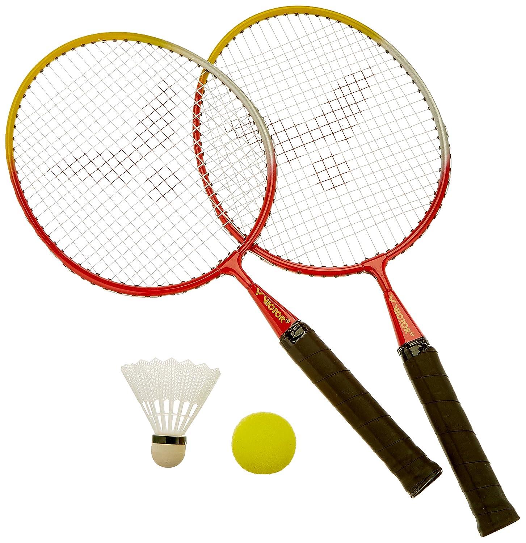 VICTOR Kinder Badminton-Schläger Mini-Set, Rot/Gelb/Weiß, 744/0/0 Rot/Gelb/Weiß VICFUN