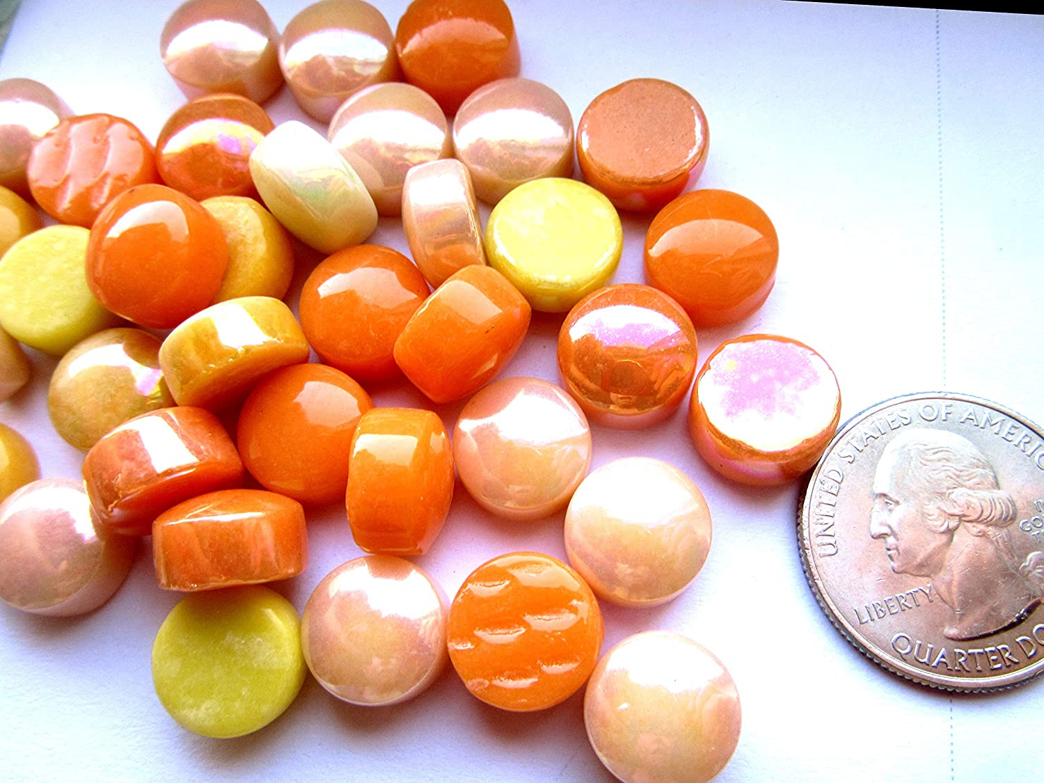 100 Orange and Yellow Glass Pieces 12 mm Round Mosaic Tiles Mosaic Supplies