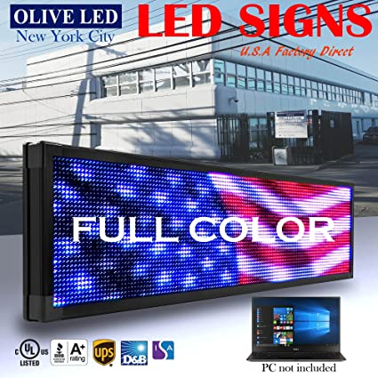 amazon com olive led sign full color p26 19 x52 programmable