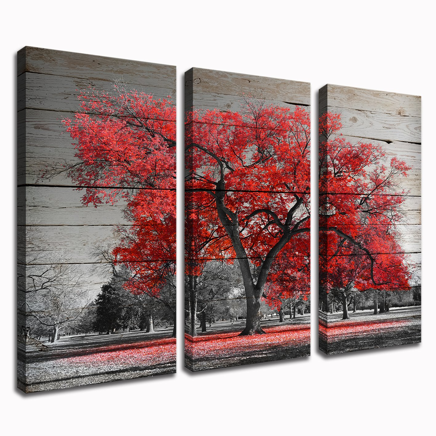 """Kolo Wall Art 3 Piece Black and Red Tree Canvas Art Prints Autumn Fall Maple Forest with Leaves Picture Painting Home Decor for Living Room 16""""x32""""x3 (Red Maple)"""