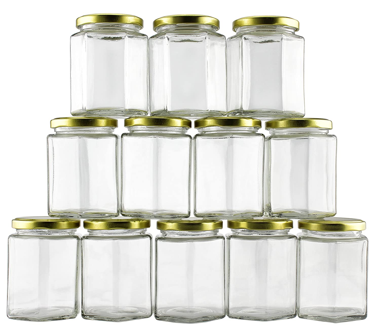 9oz Hexagon Clear Glass Jars With Gold Metal Lids (12 Pack); Great For Weddings, Spices and Gifts; Perfect For DIY Projects, Party Favors and organizing kitchen, office and craft rooms. Cornucopia Brands