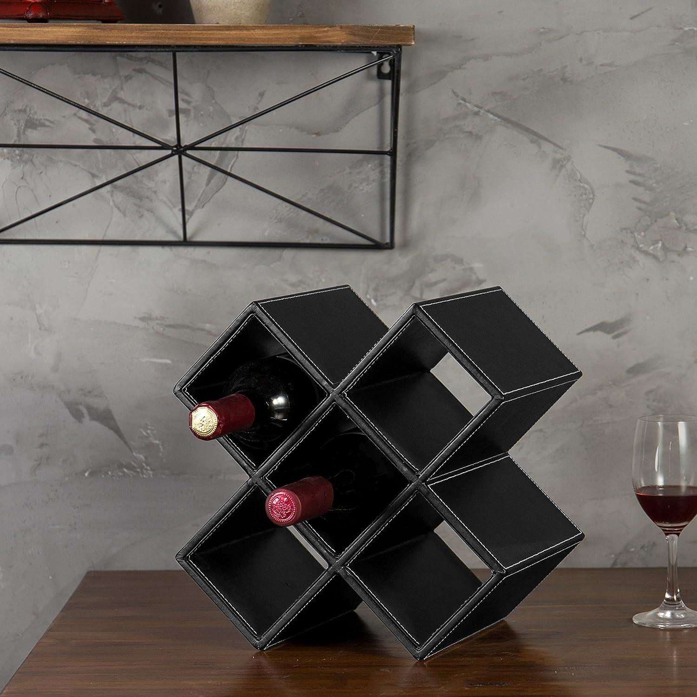Black MyGift 5-Bottle Geometric Synthetic Leather Tabletop Wine Rack
