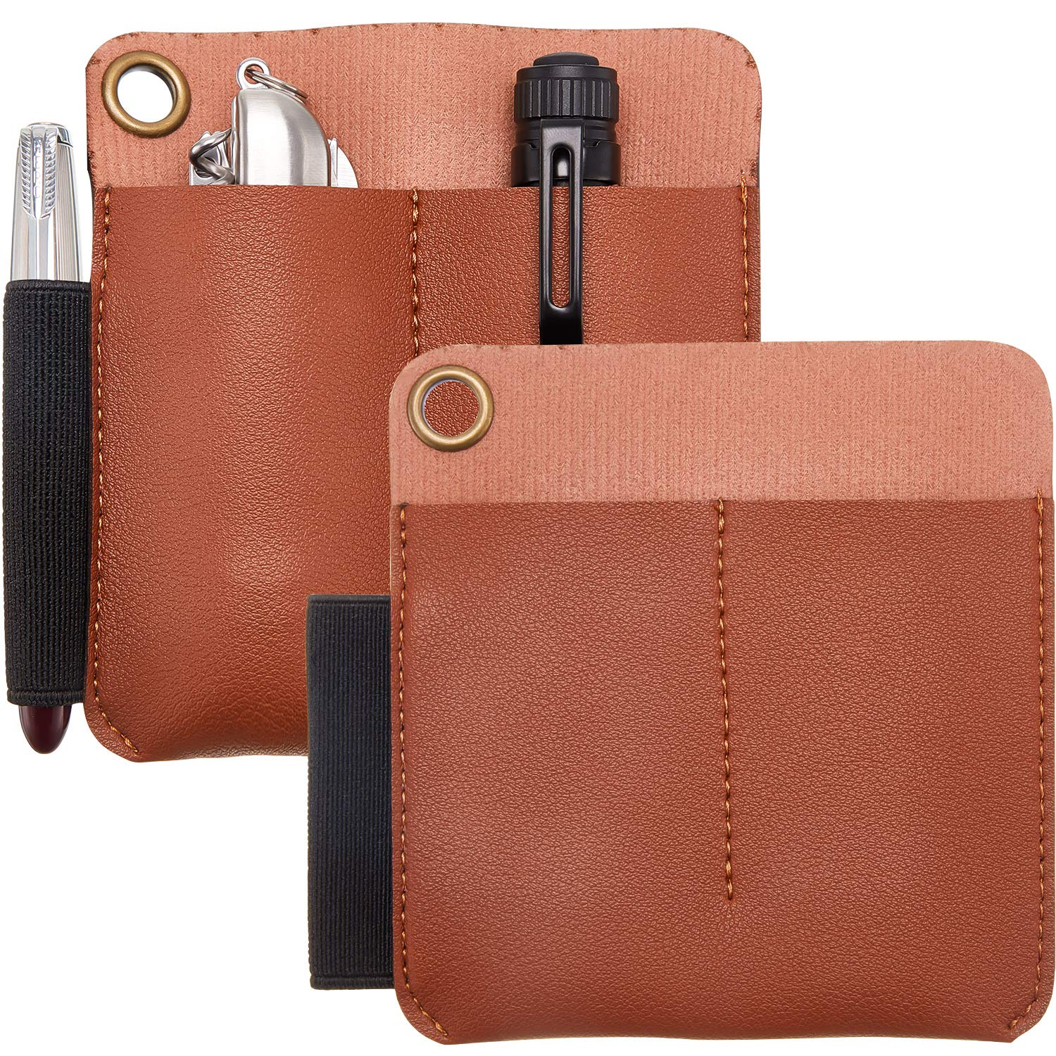Mudder 2 Pieces Leather Pocket Pouch Leather Pocket Protector Organizer Leather Knife Sheaths Carrier with Pen Loop Pocket for Knife Pen