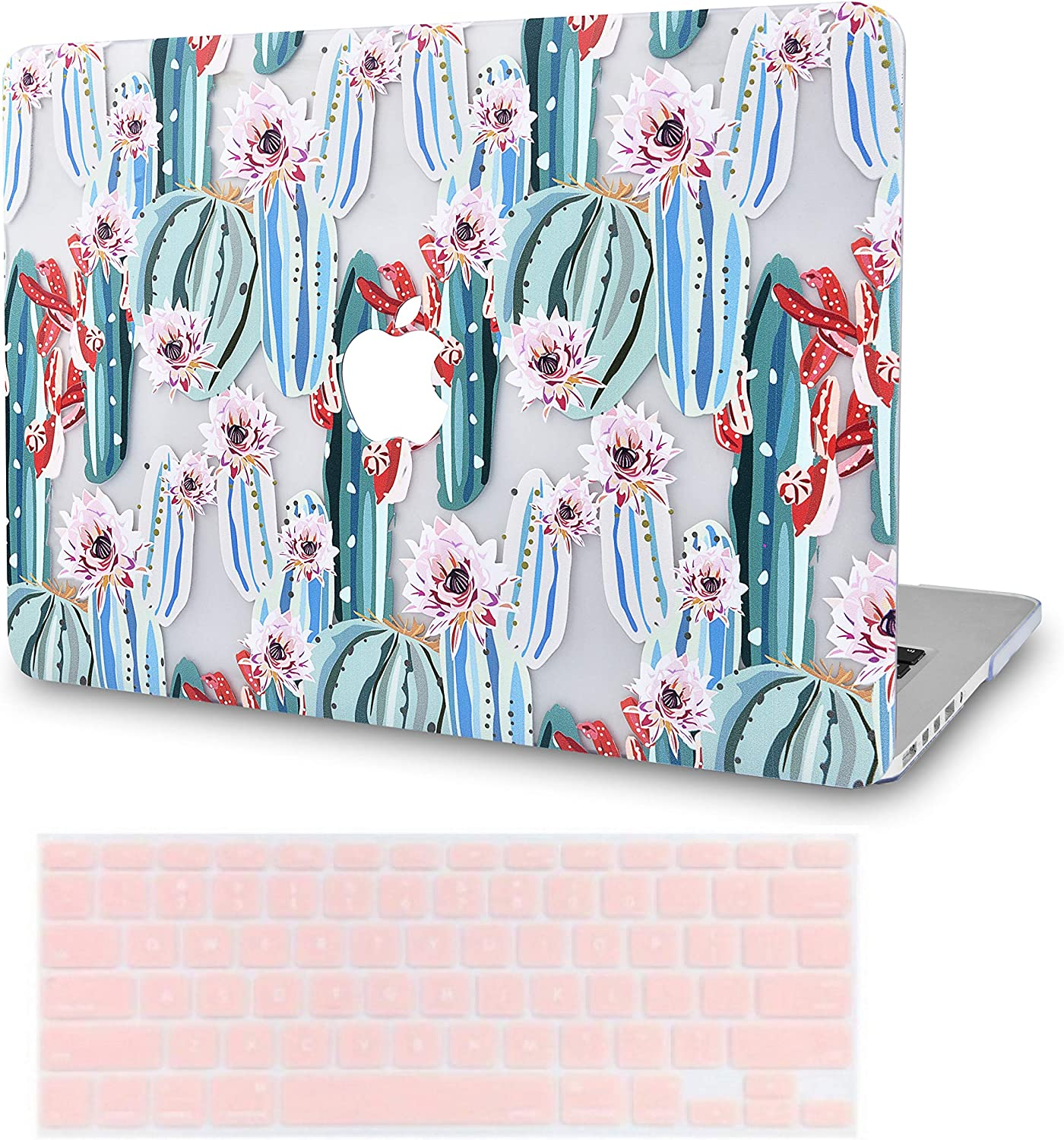 """KECC Laptop Case for MacBook Air 13"""" w/Keyboard Cover Plastic Hard Shell Case A1466/A1369 2 in 1 Bundle (Cactus 1)"""