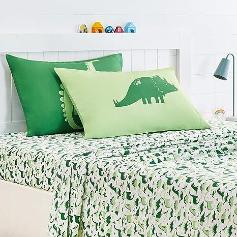 Grass Green Dinosaur Standard Set Basics Kids Dino Friends Soft Easy-Wash Microfiber Pillow Cases