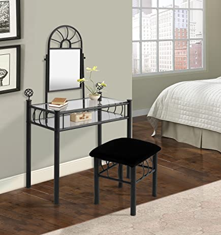 Home Source Industries 200 6032 Vanity With Upholstered Bench, Black