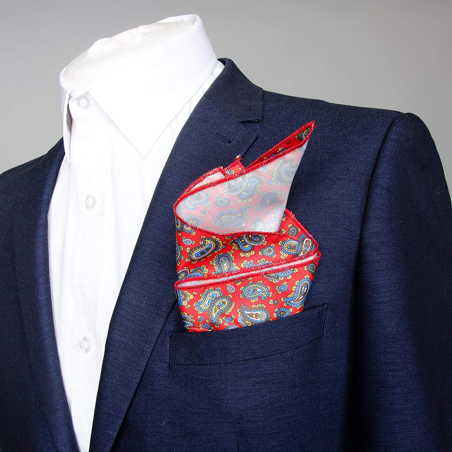 Pocket Square in Classic Style Red Paisley Design