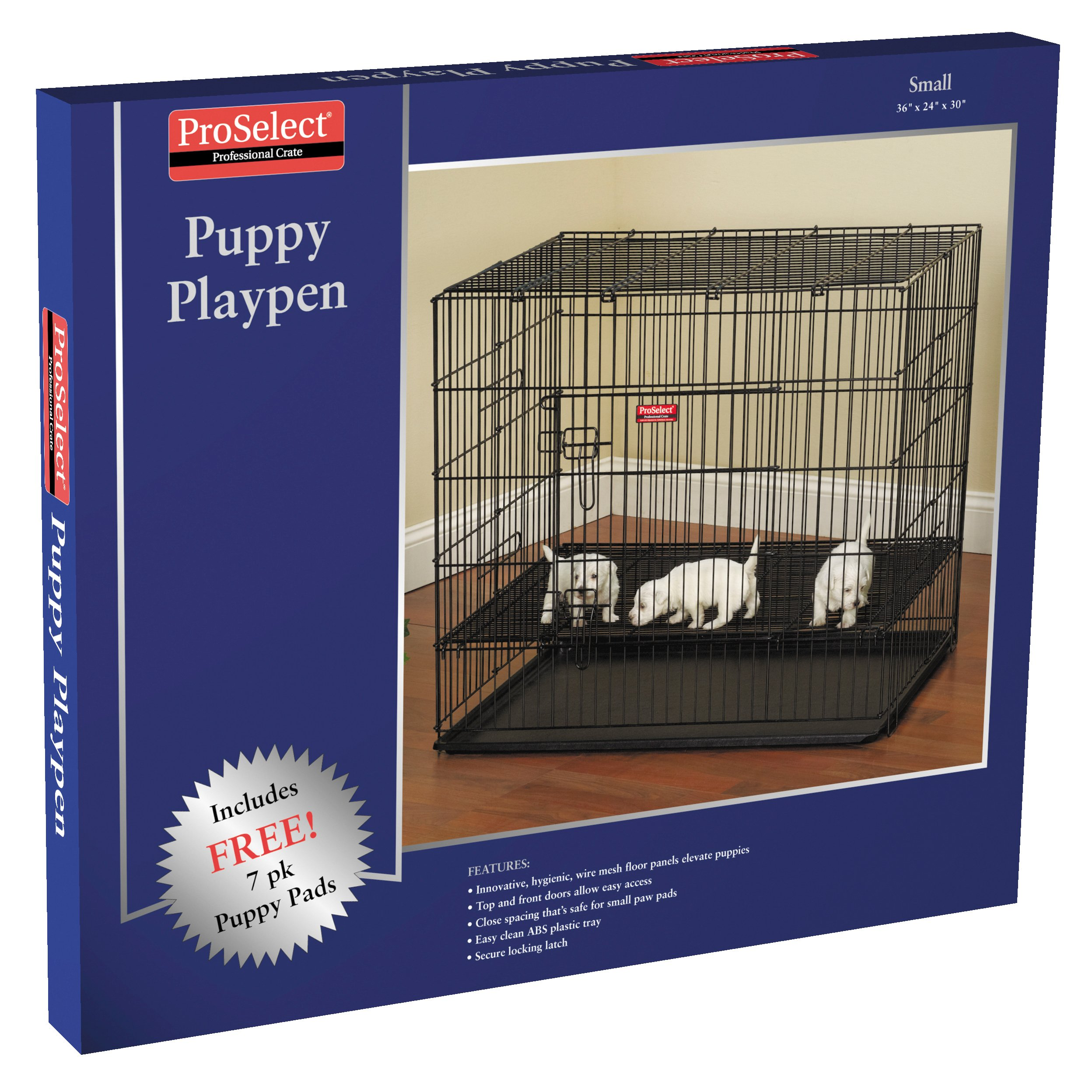 ProSelect Puppy Playpens with Plastic Pan - Small, Black 36''L x 24''W x 30''H; Medium, Black 36''L x 36''W x 30''H; Large, Black 48''L x 48''W x 30''H