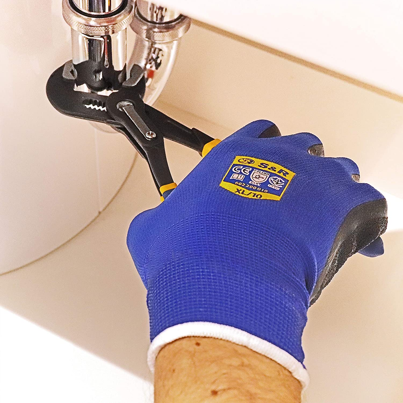 9 S/&R 12 Paires de Gants de Travail en Nylon et Latex Gants de protection montage et assemblage Taille L