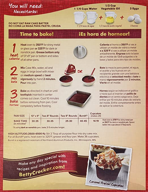 Betty Crocker Super Moist Cake Mix Directions