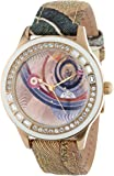 Gattinoni Women's B0579-003 Sigma Yellow Gold Ion-Plated Coated Stainless Steel Planetarium Textured Leather Strap Swarovski Crystal Watch